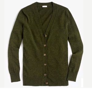 J Crew Womens Vneck Cardigan Button Down Olive S